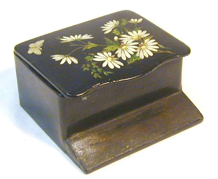25% Off! Floral Painted Papier Mache Match Safe, C. 1890