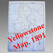SALE 25% Off! Large Yellowstone National Park Map, 1891