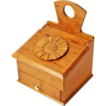 Free Shipping!  Hand Made Curly Cherry Salt Box, Wall Box, w/Drawer, Carved Flower Medallion