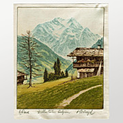 Free Shipping!  Zillertaler Alpen, Print on Fabric, Signed by Ludwig Burgel