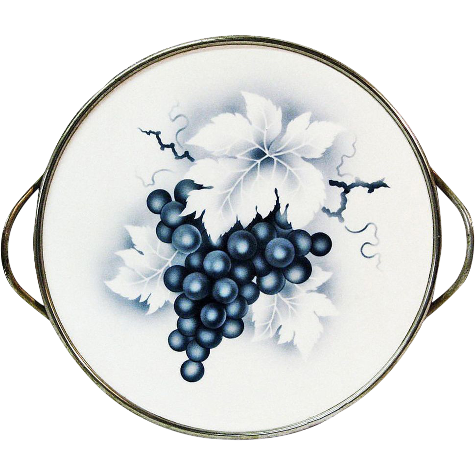Large German Footed Ceramic Tray w/Grape Motif, Ca. 1920