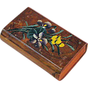 Souvenir Floral Painted Olive Wood Snuff Box, San Raphael, France, Ca.  1900's