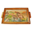 20% Off! Handpainted / Pyrography French Decorative Tray, Kaysersberg, France