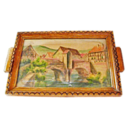 SALE 20% Off! Handpainted / Pyrography French Decorative Tray, Kaysersberg, France