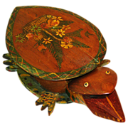 SALE 20% Off!! Folk Art Painted Turtle Bank