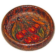 Free Shipping! Pyrographic Cherry Decorated Wooden Bowl, Ca. 1910