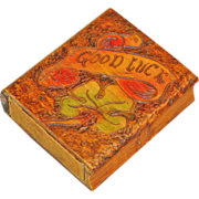 SALE 30% Off! Pyrographic Painted �Good Luck� Playing Card Box w/ 6th Armored Division Cards