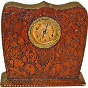 Pyrographic Poppy Decorated Desk Clock, Ca. 1910