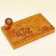 Pyrographic Turtle Decorated Pen Holder, �Lois�