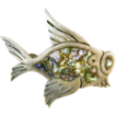 Free Shipping! Sterling Signed  Silver & Abalone Fish Pin, Tasco, Mexico