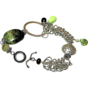 Gaspeite Silver links charms bracelet Smoky Quartz toggle Camp Sundance