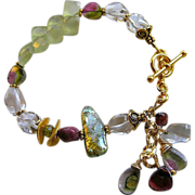 Watermelon Tourmaline bracelet Prehnite diamonds Garnet Camp Sundance toggle