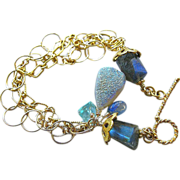 Labradorite Apatite mixed links Drusy bracelet Camp Sundance Kyanite charm