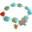 Turquoise links bracelet red Agate heart Citrine briolette Silver Camp Sundance