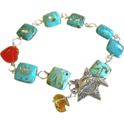 SALE Turquoise links bracelet red Agate heart Citrine briolette Silver Camp Sundance