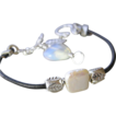 Captive square Pearl Leather leaf Opalite charm bangle Silver bracelet