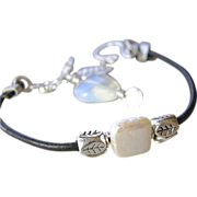 SALE Captive square Pearl Leather leaf Opalite charm bangle Silver bracelet