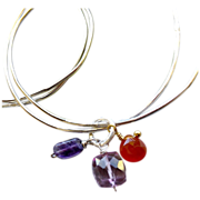Silver charm bangles Carnelian Amethyst Quartz handmade Camp Sundance