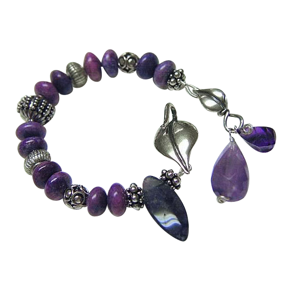 Amethyst Sugilite Fluorite Bracelet gem charms Bali Sterling Silver