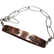 Stamped Copper Silver links ID bracelet Camp Sundance