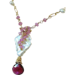 Pink Topaz Tourmaline Baroque necklace cascade pendant Camp Sundance