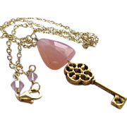 Pink Chalcedony key charm necklace trillion briolette Camp Sundance