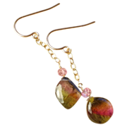 Watermelon Tourmaline Slice Topaz earrings 14K Rose Gold Camp Sundance pink drops