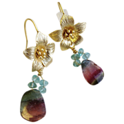 Watermelon Tourmaline slices Apatite earrings golden matte flower hook