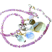 SALE Topaz Opalite Rose Quartz Charms Silver necklace or bracelet Camp Sundance design