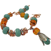 Copper Turquoise links bracelet golden rondells weave wrap Camp Sundance charms bangle cuff