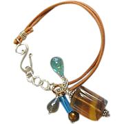 Labradorite Fluorite Apatite leather bracelet Silver charm Camp Sundance