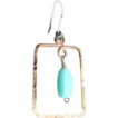 Square Copper Hoops Peruvian blue Opal Silver Camp Sundance earrings