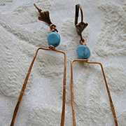 SALE Turquoise and Copper Hoop square Camp Sundance earrings