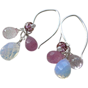 Crocus chandelier rose pink Opalite glass Silver earrings Camp Sundance