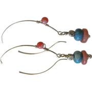 Angel skin Coral Turquoise Hoops Silver leaf wrapped dangle earrings