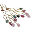Tourmaline chandelier earrings pink green Garnet Gold filled lever backs