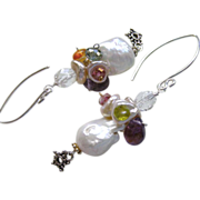 Baroque Keshi Pearl Gems Silver earrings Amethyst Vessonite Carnelian studded
