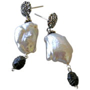 Baroque Keshi Pearl black Tourmaline post earrings briolette Silver Camp Sundance