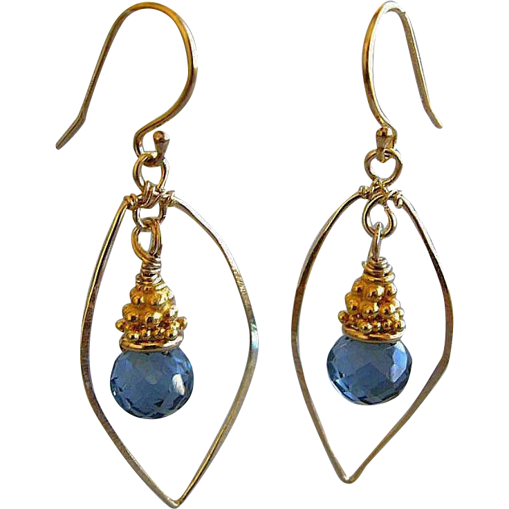 Topaz London charm drop earrings Gold filled leaf Camp Sundance