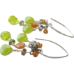 Carnelian smoky crystals green briolettes designer Silver earrings