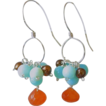 Peruvian Opal Carnelian Chocolate Pearls Designer Silver earrings