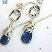 Kyanite briolette wrapped drop Silver Camp Sundance earrings