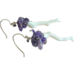 Violet Coral earrings organic branch Amethyst cluster Designer Silver