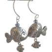 Designer Fish Sterling Silver hoops charm Camp Sundance dangle earrings