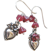 SALE Milagros heart flowers drop earrings charms Silver Camp Sundance