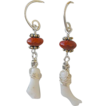 White Coral branches earrings red Poppy Jasper Mini Hoop Camp Sundance