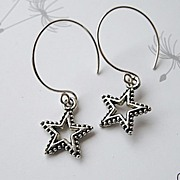 SALE Hoops star charms Silver earrings on mini Designer Camp Sundance