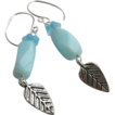 Peruvian Opal leaf charm earrings Designer Silver hooks Camp Sundance