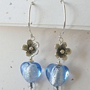 Hearts flowers blue Designer hoops Sterling Silver earrings