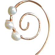 Copper spiral Coil Hoop earrings forged white genuine Pearl Camp Sundance